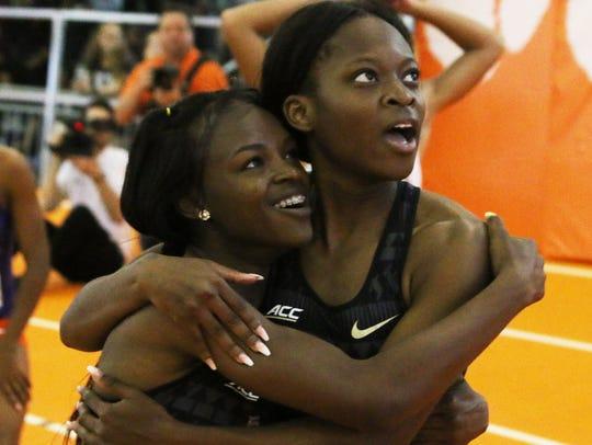 FSU freshman sprinters Ka'Tia Seymour (left) and Jayla