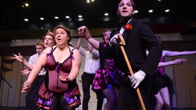 "Members of the ""Cabaret"" cast rehearse at the Riverbank Theatre in Marine City."