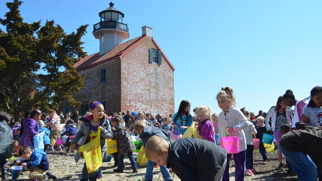 The Friends of East Point Lighthouse hosted the first-ever Easter egg hunt at the lighthouse on Saturday. The crowd was much larger than anticipated.