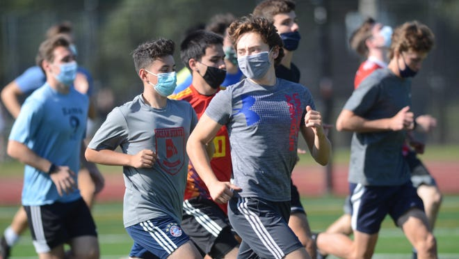 The North Kingstown boys soccer team was masked up for its first day of practice on Monday afternoon.