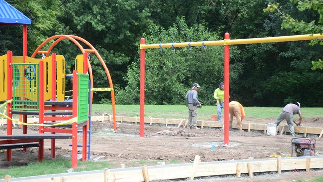 Concrete foundations were poured for a new playground in North Main Park in El Dorado, with the final play surface to come once concrete has been able to cure.