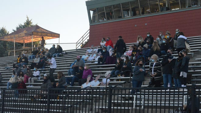 A crowd watches a game at Zeeland Stadium earlier this season.