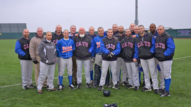 Members of the Louisiana College baseball team and coaching staff had their heads shaved in support of fighting cancer while at Concordia University in Texas. Left to right: Assistant coach Stuart Morgan, head athletic trainer Jon Hay, Darien Bartie, Brand Bignar, Sully Martin, Billy Pilgrim, head coach Mike Byrnes, Austin Taylor, Garrett Parsons, Ron Anders, Tim Griffith, assistant coach Matt Byrnes, assistant coach Andrew Shelton, Tyler Lamers, Dylan Keller, Tyler Dixon, Jermaine Liggins and Lane Noakes.