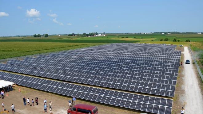 Iowa's largest solar farm, a newly built array in southwest Johnson County, is pictured Wednesday during a ribbon cutting celebration.