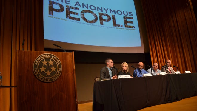 From left: Greg Williams, producer of The Anonymous People; Madeline Redstone, board member Hazelden Betty Ford Foundation; Jimmy Weiss, patient advocate Betty Ford Center; and Stan Henry, mayor of Cathedral City.