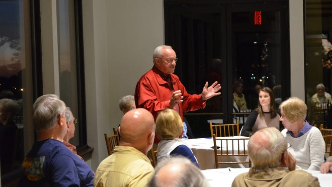 Santa Rosa County District 3 Commissioner Don Salter speaks during the United Peninsula Association's general membership meeting Thursday night in Gulf Breeze, where the group ushered in new leadership and set priorities for the coming year in south Santa Rosa County.