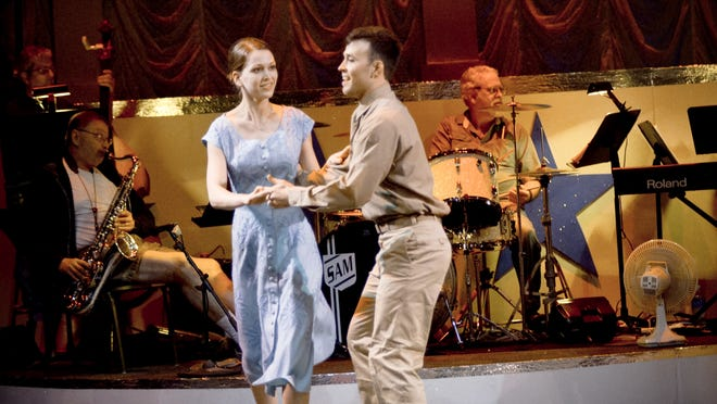 """Swing dancers Camille Wood and John Carlos perform in """"G.I. Jukebox"""" at Pensacola Little Theatre."""