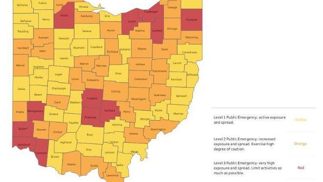This color-coded map is part of the Ohio Public Health Advisory System established to track the spread of the novel coronavirus in the state.