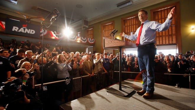 Sen. Rand Paul, R-Ky., acknowledges the crowd on April 8, 2015, in Milford, N.H.