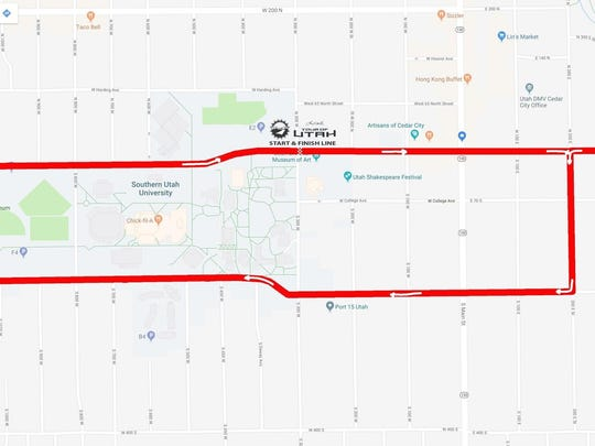 The finishing route for Stage 1 of the 2018 Tour of