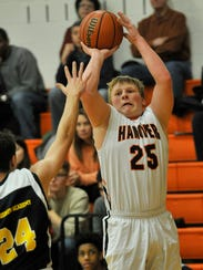 Hanover's Hunter Martz shoots an outside shot over