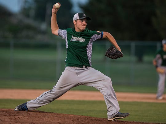 Fredericksburg's Seth Walmer delivers a pitch on the way to picking up a 6-3 win over Annville in Game 1 of the county finals on Monday night.