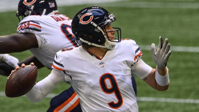 Chicago Bears quarterback Nick Foles (9) throws during the second half of Sunday's game against the Atlanta Falcons, in Atlanta. The Chicago Bears won 30-26.