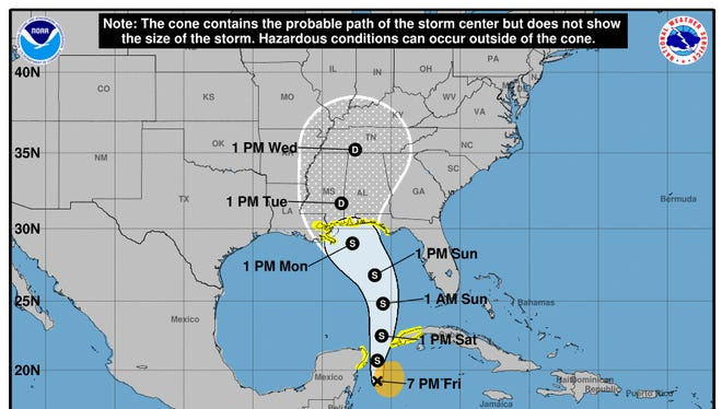 Cone showing the projected path of Subtropical Storm Alberto as of 8 p.m. EST Friday, May, 25, 2018.