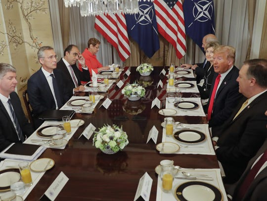 U.S. President Donald Trump, third right, and NATO