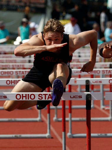 Ashland's Hudson McDaniel runs in the 110 meter hurdles Saturday, June 2, 2018, during the state track and field championship at Jesse Owens Memorial Stadium in Columbus.