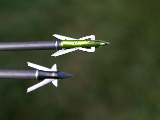Arrows with broadhead tips are used for bow hunting