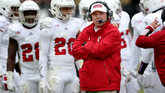 Indiana Hoosiers head coach Kevin Wilson in the second half of their game. The Indiana Hoosiers defeated the Purdue Boilermakers 56-36 to win the 118th Old Oaken Bucket game Saturday , November 28, 2015, afternoon at Ross-Ade Stadium in West Lafayette IN.