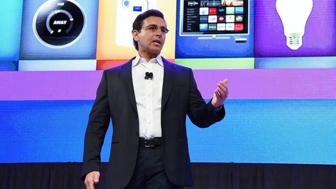 Mark Fields, president and CEO of Ford Motor Co., speaks during a press event for CES 2016 Jan. 5 at the Mandalay Bay Convention Center.