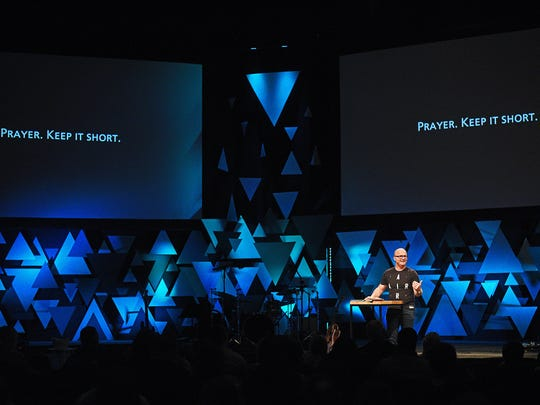 Adam Weber, lead pastor at Embrace Church, speaks during a service at Embrace Church Sunday, March 12, 2017, at the 57th Street campus in Sioux Falls.