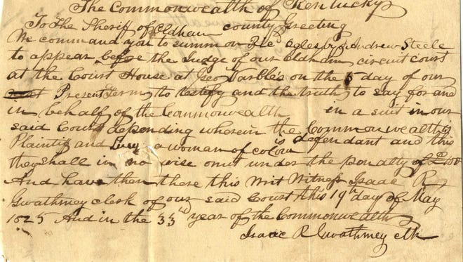 Jury Summons order for the First Recorded Murder Case in Oldham County Circuit Court Documents, 1825.