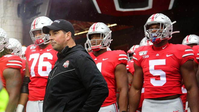 Oct 26, 2019; Columbus, OH, USA; Ohio State Buckeyes head coach Ryan Day before the game against the Wisconsin Badgers at Ohio Stadium. Mandatory Credit: Joe Maiorana-USA TODAY Sports