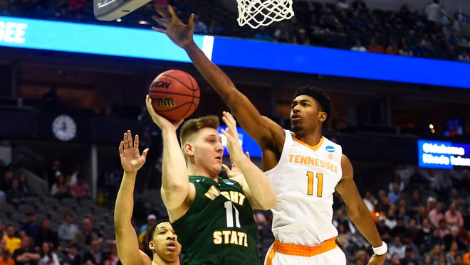 Tennessee forward Kyle Alexander (11) blocks Wright State center Loudon Love (11) during the NCAA Tournament first round game between Tennessee and Wright State at American Airlines Center in Dallas, Texas, on Thursday, March 15, 2018.