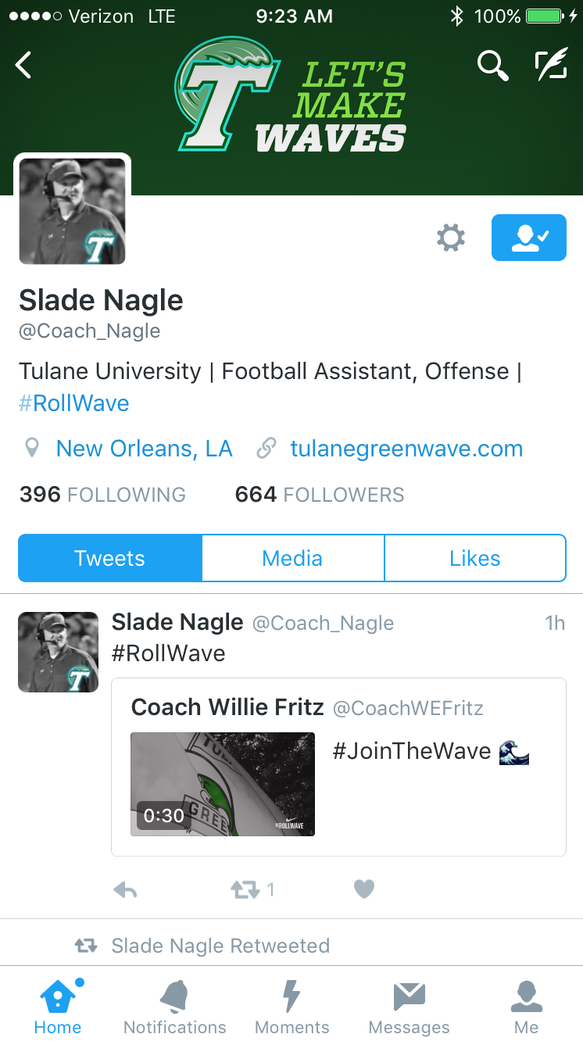 Nagle updated his Twitter account on Wednesday morning.