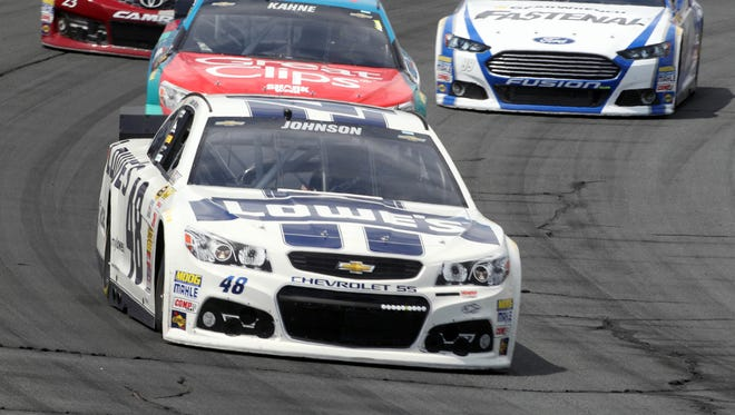 Jimmie Johnson was knocked out of the Camping World RV Sales 301 with two flats in the left-rear tire.