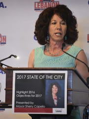 Lebanon Mayor Sherry Capello speaks April 5, 2017 at the annual State of the City Address. Capello was elected to a third term as Lebanon mayor.