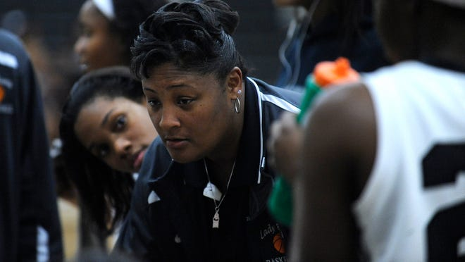Brew Tech coach Cynthia Thompson coaches against Jackson at the Brew Tech campus in Montgomery, Ala. on Monday February 9, 2015.