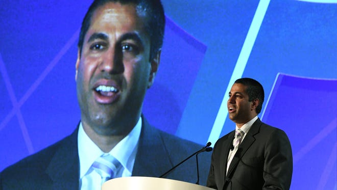 Federal Communications Commission Chairman Ajit Pai speaks during the 2017 NAB Show at the Las Vegas Convention Center on April 25, 2017 in Las Vegas, Nevada. The FCC chairman supports an overhaul of the net neutrality rules passed in 2015.