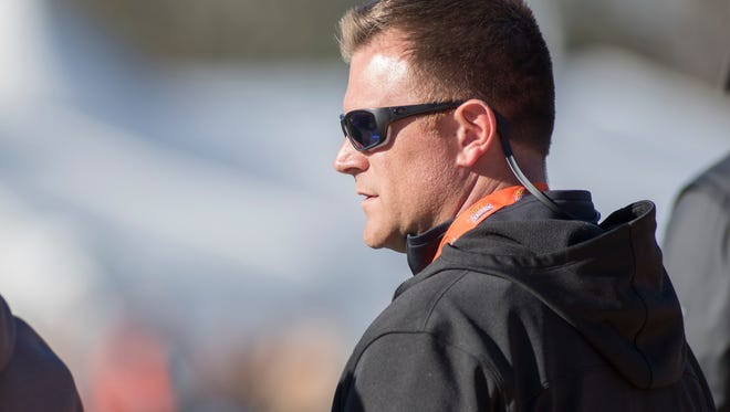 Green Bay Packers general manager Brian Gutekunst watches practice for the Senior Bowl in Mobile, Alabama on Tuesday, Jan. 23, 2018.