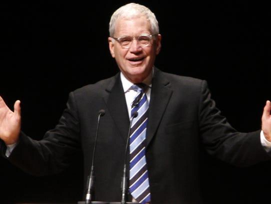 David Letterman David Letterman addresses a crowd at