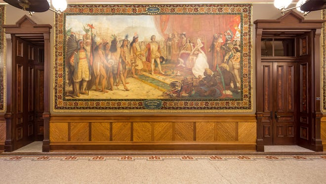 One of the 12 Christopher Columbus murals in the Main Building on the University of Notre Dame campus. Some students, employees and alumni have called on the university to remove the paintings.