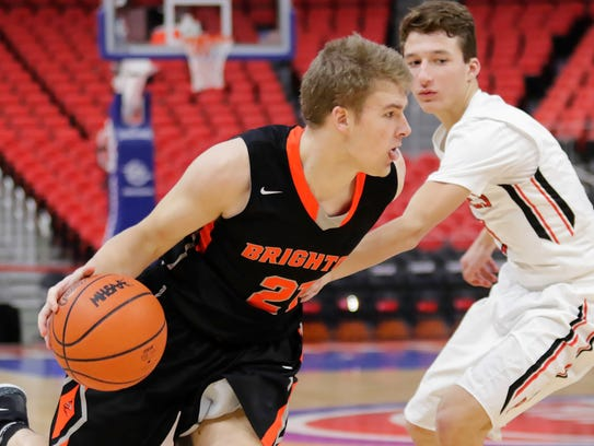 Brighton's Justin Klaus drives to the basket against
