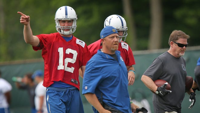 Indianapolis Colts quarterback Andrew Luck, #12, practices at the Indiana Farm Bureau Football Center, Thursday, June 9, 2016.