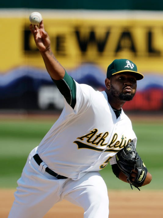 Oakland Athletics starting pitcher Raul Alcantara throws to the Seattle Mariners during the fifth inning of a baseball game Sunday, Sept. 11, 2016, in Oakland, Calif. (AP Photo/Marcio Jose Sanchez)
