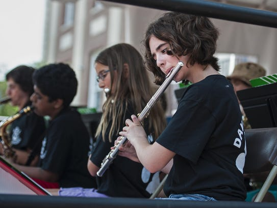 Madi Spina plays with the Albert D. Lawton Jazz Band