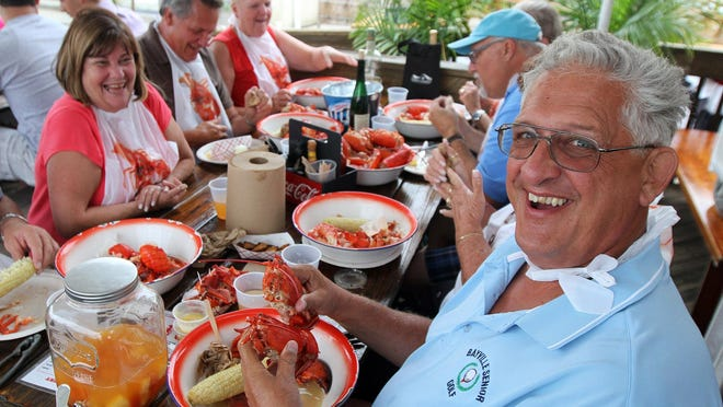 John Schnitzer of Berkeley gets ready to dig into some lobster at the Boondocks in Red Bank.