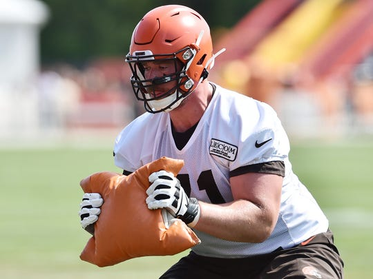 Jul 25, 2019; Berea, OH, USA; Cleveland Browns offensive guard Bryan Witzmann (71) during training camp at the Cleveland Browns Training Complex. Mandatory Credit: Ken Blaze-USA TODAY Sports