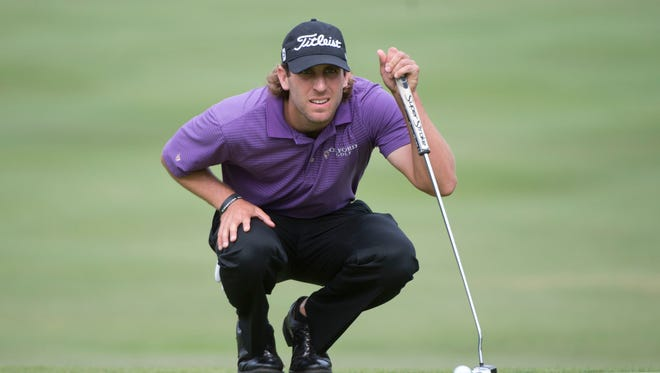 Andrew Loupe lines up his putt on the 13th hole during the third round of the Frys.com Open at Silverado Country Club.