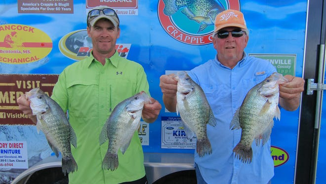 Brad Calhoun (left) and Tommy Moss took the win in the Magnolia Crappie Club tournament at Wolf Lake on Saturday.