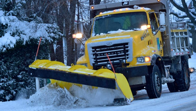 A PennDOT truck plows sections of U.S. 11 on the south end of Chambersburg on Tuesday, March 14, 2017. Winter storm Stella dropped several inches of snow overnight in the region.