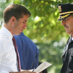 Attorney General Beau Biden shows sympathy in his keynote speech during a remembrance ceremony for Delaware's Gold Star families at the Delaware Veterans Post Number 1 in in 2009.