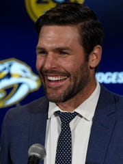 Former Predators captain Mike Fisher speaks to the