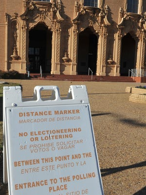 Distance markers placed outside Memorial Auditorium mark how close campaigners, candidates and political signs can get to the voting location. Early voting began on November 27, 2017 and will end on Saturday, December 1st.