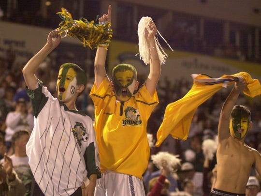 Young Rhinos fans shown during the 2000 A-League Championship Game at Frontier Field.