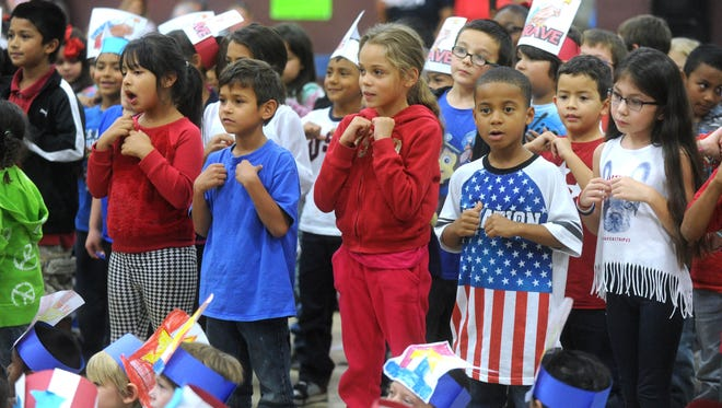 Each grade at Martinez Elementary School performed a song Friday during a Veterans Day program at the school.
