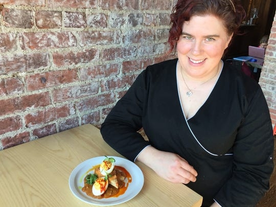 Indianapolis personal chef Rachel Hoover is  a master of contemporary dishes featuring Mexcian flavors, like garlic hot sauce deviled eggs with almond biscuits and chorizo gravy.